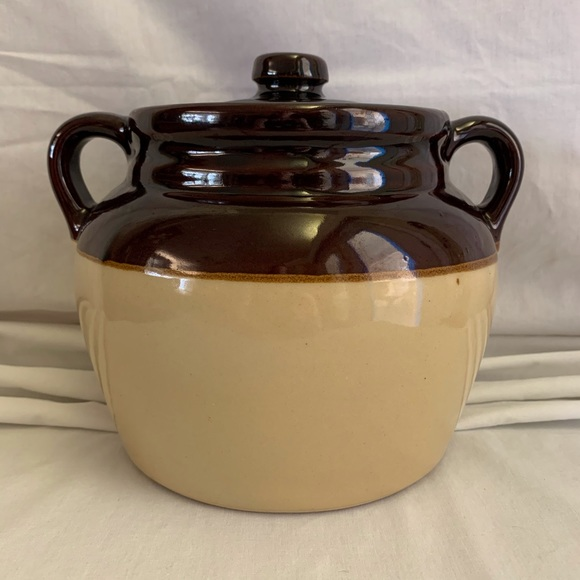 Other - Stoneware Crock Bean Pot Lid USA Pottery Brown Lg
